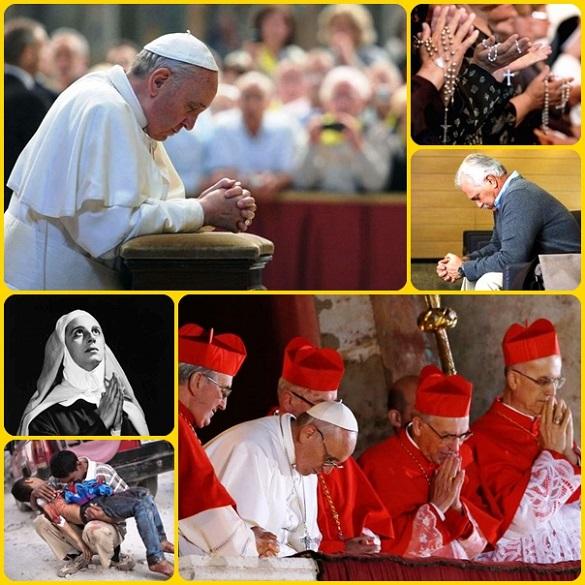 Papa Francesco prega per tutti e chiede preghiere per sé. La sera della sua elezione a papa stupì il mondo intero chiedendo a tutti di fare su di lui una preghiera silenziosa che egli accolse a capo chino.