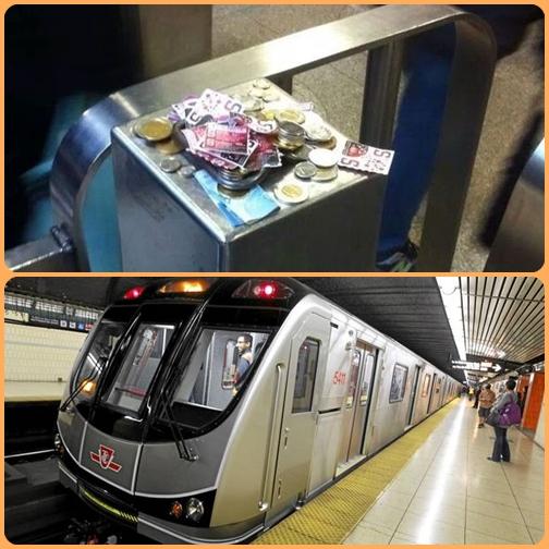 """In Canada una macchina per biglietto della metro è guasta, ma i passeggeri lasciano ugualmente i soldi sull'obliteratrice. """"L'onestà degli ormai miei compatrioti canadesi non cessa di sorprendermi""""."""