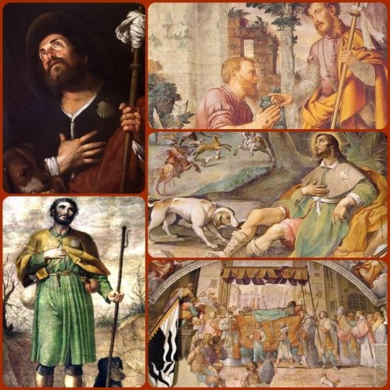 """San Rocco di Montpellier, Francia, molto venerato in Italia. Egli visse in mezzo agli appestati; fece come il Signore che si è caricato delle nostre sofferenze, si è addossato i nostri dolori"""". (cf Is, 53, 4)."""