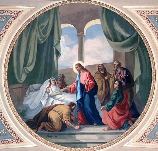 Gesù guarisce la suocera di San Pietro - Tempera su intonaco di Manini Vittorio (1957) nella Chiesa di San Giacomo Maggiore e Santa Maria Assunta a Somendenna (BG) - foto da internet.