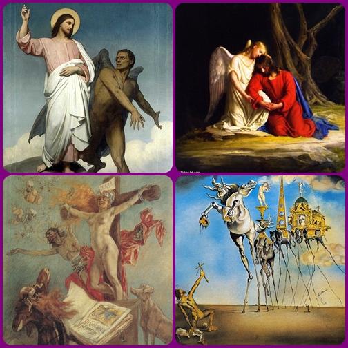 """Gesù nel deserto rimase quaranta giorni e fu tentato da Satana, ma ne iscì vincitore. L'uomo nel """"desero della vita"""" rimane continuamente tentato: per vincere non può fare a meno di Cristo."""
