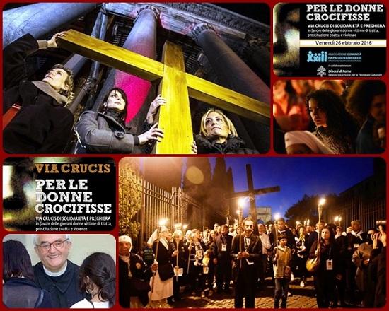 """Roma: Via Crucis vivente """"per le donne crocifisse"""". L'iniziativa è stata promossa dalla Comunità Papa Giovanni XXIII fondata da don Oreste Benzi."""