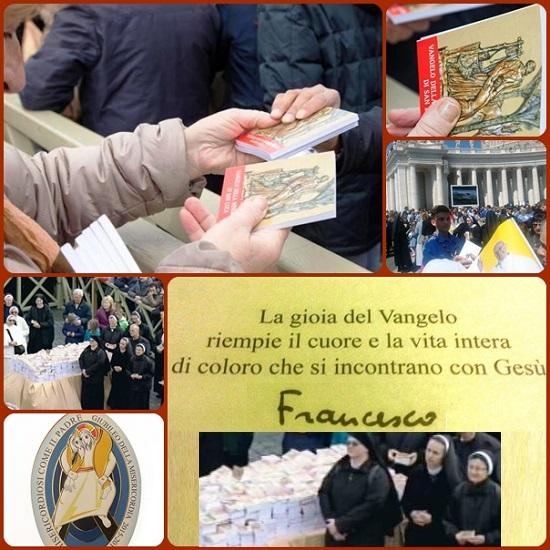 """Ieri, domenica 13 marzo, Papa Francesco ha festeggiato i tre anni di pontificato regalando 40mila vangeli ai fedeli: """"Il Vangelo della Misericordia di San Luca"""", in formato tascabile."""