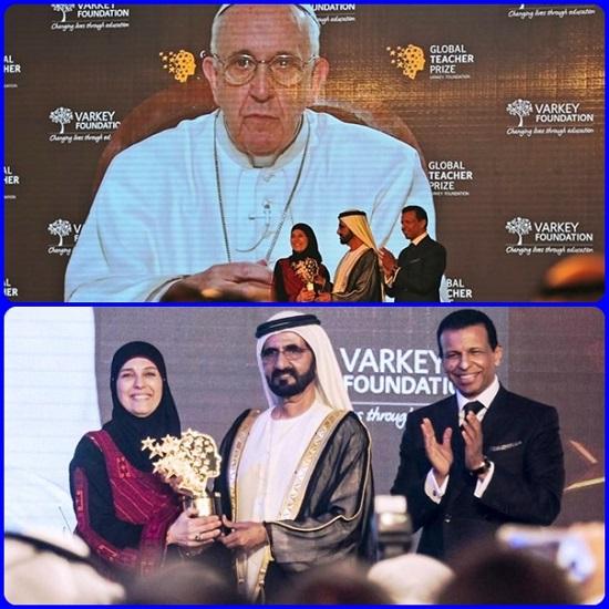 """Hanan al-Hroub, una maestra e mamma palestinese, che a Dubai è stata premiata con un videomessaggio da papa Francesco che ha lodato il lavoro degli educatori, """"artigiani di umanità, costruttori di pace e incontro""""."""