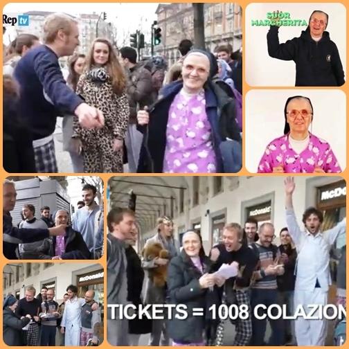 Torino - McDonald's - Suor Margherita insieme ai volontari in pigiama hanno raccolto 42 tickets per un totale di 1.008 colazioni per i poveri.