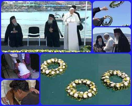 Tre corone di fiori nel mare, tre preghiere rivolte al cielo per le vittime delle migrazioni e tanta solidarietà ai profughi sopravvissuti alle tragiche traversate.