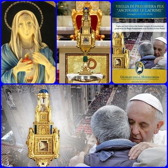 Papa Francesco ha presieduto ieri giovedì pomeriggio, 5 maggio, solennità dell'Ascensione, nella basilica di San Pietro. La misericordia si rende visibile anche nell'asciugare le lacrime di quanti soffrono o sono in difficoltà.