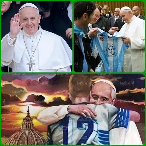 L'abbraccio dei settemila rappresentanti della società sportiva Lazio a Papa Francesco, che li ha accolti in udienza, è ben raffigurato dal quadro regalato al Papa dai ragazzi della curva.