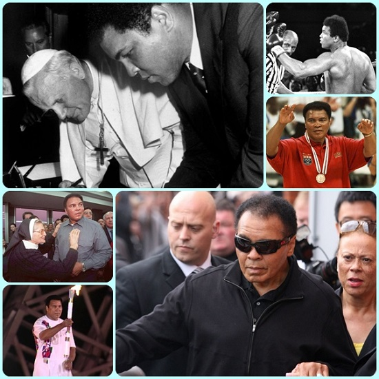 Muhammad Ali, ormai leggenda dello sport, è deceduto all'età d 74 anni. Personalità di ogni genere e grado si stanno esprimendo su questo straordinario campione che si è dimostrato anche uno straordinario uomo. Trai suoi ammiratori c'era perfino Papa Wojtyla, un campione assoluto di umanità e di santità.