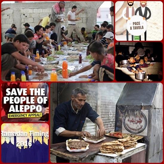 In questo tempo i cristiani di Aleppo (Siria) assicurano cibo e solidarietà ai musulmani bisognosi: presso la Cattedrale dedicata a Sant'Efrem il Siro, vengono distribuiti pasti preparati dai cristiani per le famiglie musulmane.