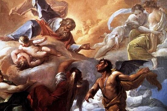 Immaginario e interessante processo in Paradiso: il diavolo reclama la sua proprietà, l'umanità peccatrice, Ma Maria Santissima lo sconfigge.