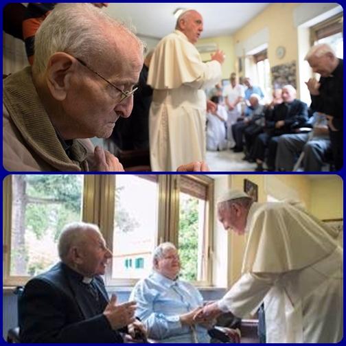 Papa Francesco, venerdì 17 giugno, ha fatto visita a sacerdoti ricoverati in due strutture romane. La sua paterna vicinanza a loro ci spinga ad interessarci con attenzione ai sacerdoti.