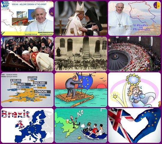 Chi costruisce e chi divide debbono farlo con grande responsabilità. Papa Francesco ha manifestato ammirazione per la fede degli Armeni, che hanno subito un genocidio epocale; ha saluto il coraggio di chi si è impegnato per gli accordi di pace tra l'esercito colombiano e la guerriglia delle FARC ed ha richiesto rispetto anche per la Brexit, come volontà popolare di separarsi dagli altri.