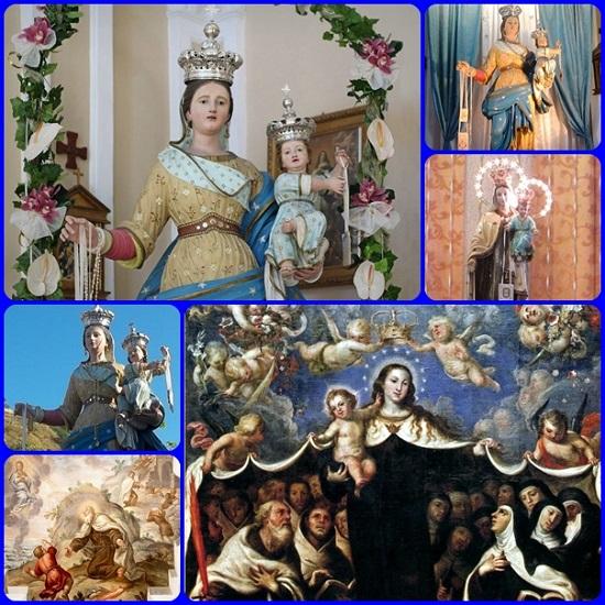 """è stata sempre rappresentata con Gesù Bambino in braccio o in grembo che porge lo 'scapolare' (tutto porta a Gesù), e con la stella sul manto (consueta nelle icone orientali per affermare la sua verginità). La sua ricorrenza liturgica è il 16 luglio, giorno in cui nel 1251, apparve al beato Simone Stock, porgendogli l' """"abitino""""."""