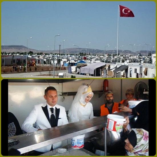 Turchia - Niente festa di nozze, gli sposi turchi sfamano 4.000 profughi (siriani). Invece del tradizionale banchetto una coppia di Kilis hanno voluto condividere la propria felicità con i meno fortunati, in fuga dall'Isis. Gli sposi stessi ha distribuito il cibo alle famiglie siriane.