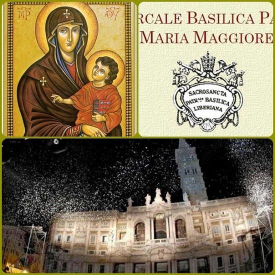 """""""Salus Popili Romani"""" è la Madonna che Papa Francesco saluta quando affronta qualche viaggio. E' nella basilica di S. Maria Maggiore, a Roma, dove ogni anno, il 5 agosto, si rivive """"il miracolo"""" della neve."""