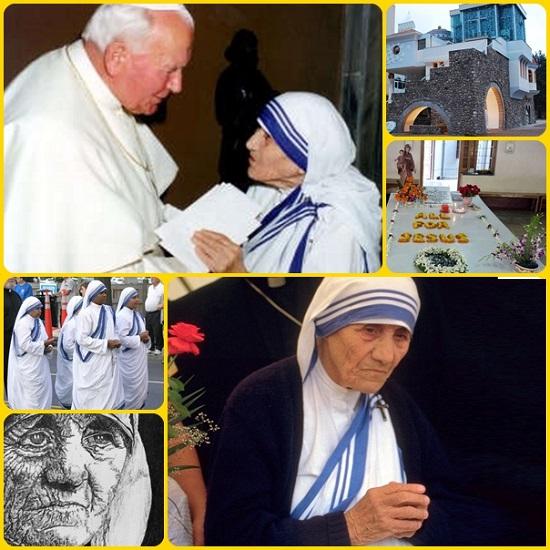 Madre Teresa di Calcutta,1910– 1997, la Santa della Carità e della Misericordia. Ha ricevuto il Premio Nobel per la Pace nel 1979 e il 19 ottobre 2003 è stata proclamata beata da papa Giovanni Paolo II. Sarà proclamata santa il prossimo 4 settembre 2016: un evento mondiale. Di lei si leggono sul web tante storie e tanti aforismi e detti.
