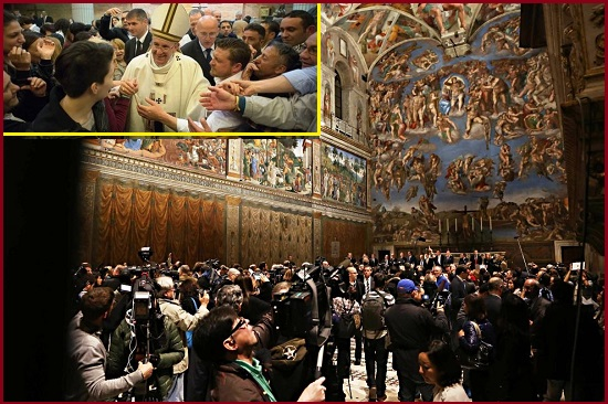 Iniziativa di misericordia in Vaticano. Tour in Vaticano per un gruppo di detenuti di Rebibbia. Circa 50 carcerati hanno visitato i Giardini Vaticani, la Basilica di San Pietro e la Cappella Sistina, dove alle 12 hanno seguito l'Angelus del Papa.