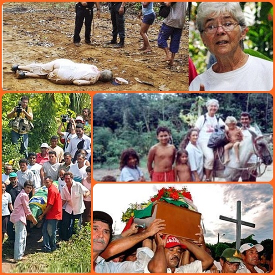 """Dorothy Stang, 73 anni, statunitense di nascita, brasiliana di adozione, uccisa in Amazzonia perché lottava per il diritto alla terra dei contadini: """"Il suo corpo è stato """"piantato"""" là, proprio tra gli alberi, che lei difendeva. Il ricordo della sua azione resterà vivo""""."""