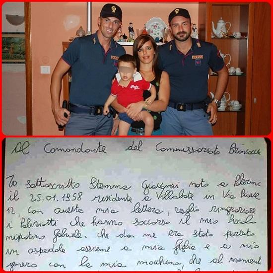I due coraggiosi poliziotti protagonisti della storia e la lettera di gratitudine inviata dai genitori al Commissariato di P.S. di Brancaccio, quartiere di Palermo.