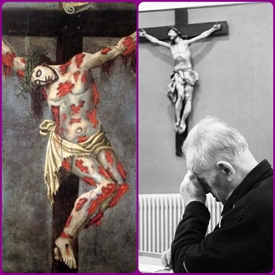 """guardare a Colui che è stato trafitto per la nostra salvezza: """"Io quando sarò elevato da terra, attirerò tutti a me"""" (vangelo di Giovanni 12, 32). Egli sarà sempre lì, con le braccia aperte per accoglierlo nell'abbraccio della Misericordia."""