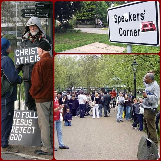 A Londra c'è un celebre Parco pubblico e in un angolo di esso c'è anche una tribuna su cui chiuncque piò salire e dire la sua. Moltissimi si sono cimentati ad improvvisare discorsi ad un pubblico improvvisato. Certi interventi sono rimasti nella memoria, come la seguente risposta.