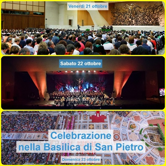 """A Roma, domenica 23/X, si è concluso il Giubileo delle Corali provenienti da tutto il mondo. L'arcivescovo Fisichella ha celebrato la Messa in San Pietro con i 10mila partecipanti all'evento giubilare: """"Evangelizzare con il canto"""". Come dire. gli Angeli sono scesi a cantare tutti insieme."""