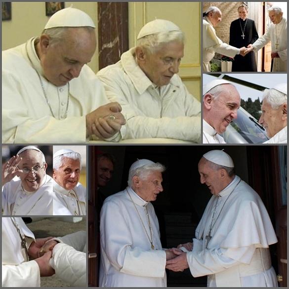 """È trascorso un anno vissuto con due Papi: Papa Francesco dimostra grande affetto e riconoscenza verso Benedetto XVI e questi spesso, quando è apparso in pubblico, ha manifestato chiaramente la sua incondizionata """"reverenza e obbedienza"""" a Papa Francesco. L'immensa popolarità, raggiunta in breve tempo dal nuovo Papa per le sue coraggiose aperture, sembra far storcere il naso a molti che vorrebbero una più Chiesa statica e ancorata ai privilegi. Fosche nubi sulla Chiesa sembrano poi alzarsi da alcuni organismi, anche internazionali, ma la profonda comunione che unisce i due Papi assicurerà una sicura traversata"""