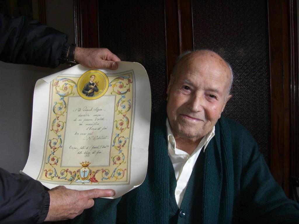 Il diploma di riconoscenza dei Redentoristi ricevuto dalle mani del Cardinale Corrado Ursi a Tropea durante la festa di San Gerardo 1976.
