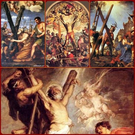L'apostolo Andrea: «Salve Croce, santificata dal corpo di Gesù e impreziosita dalle gemme del suo sangue. Croce buona, a lungo desiderata, che le membra del Signore hanno rivestito di tanta bellezza! Da sempre io ti ho amata e ho desiderato di abbracciarti… Accoglimi e portami dal mio Maestro».