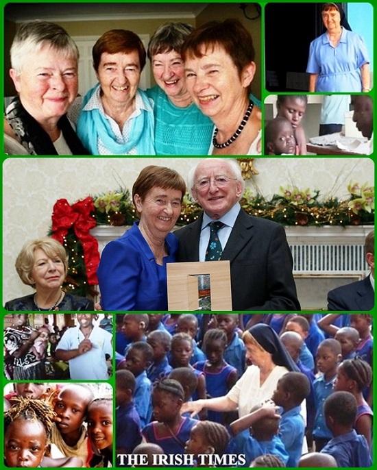 """Suor Maria Dolores Sweeney, insieme alle altre suore, ha rischiato la sua vita per rimanere ed aiutare la comunità devastata dal virus. La suora di Donegal (Irlanda) ha ricevuto il premio dal Presidente della Repubblica per il suo ruolo nel coordinamento della risposta all'epidemia di Ebola in Sierra Leone: """"Noi eravamo una squadra. E non avremmo potuto realizzare niente senza la nostra gente locale, le nostre sorelle, e le nostre famiglie e il popolo d'Irlanda""""."""