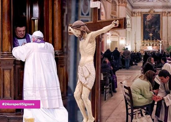 """""""24 Ore per il Signore"""" è una giornata penitenziale in cui le chiese aprono le proprie porte e favoriscono l'accesso alla confessione, oltre a offrire riflessioni, momenti di adorazione eucaristica e sante messe."""