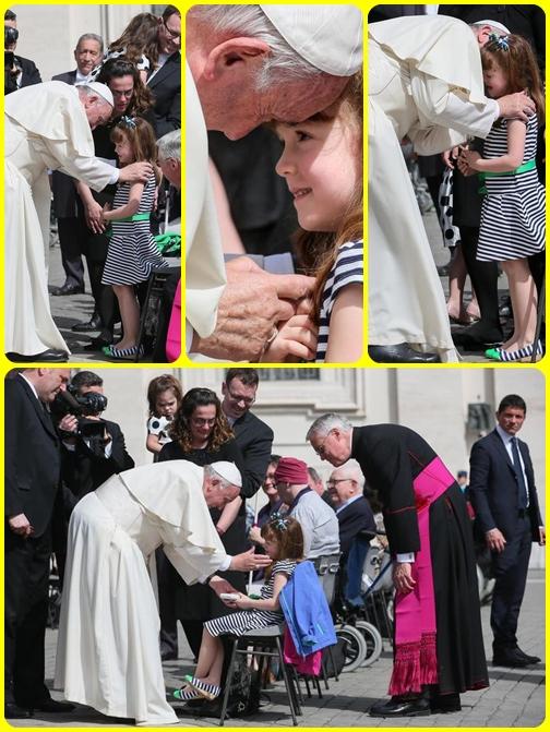 Lizzy Myers, una bimba di 6 anni, ha voluto incontrare il Papa prima di diventare cieca. La piccola, affetta dalla Sindrome di Usher che le farà perdere in pochi anni vista e udito, ha incontrato ieri 6 aprile 2016 il Pontefice con la sua famiglia dopo l'Udienza generale. Per lei si è sviluppata una gara di solidarietà guidata dall'Unitalsi.