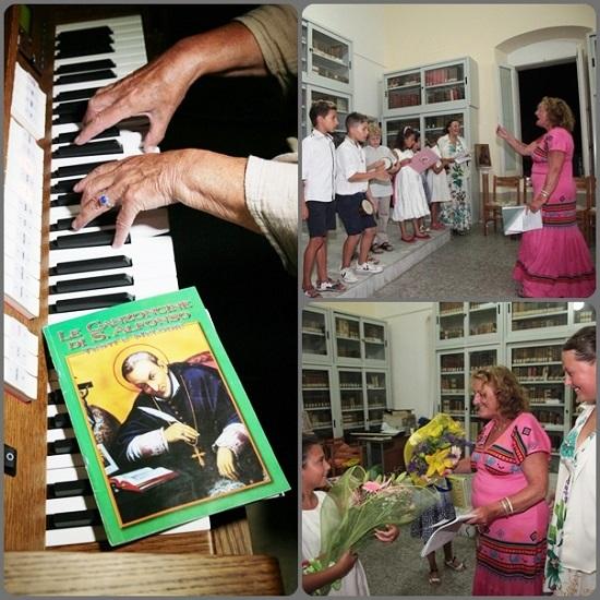 La signora Anna Risi, mezzo soprano, con i bambini del Piccolo Coro della Cattedrale di Tropea e i canti di S. Alfonso.