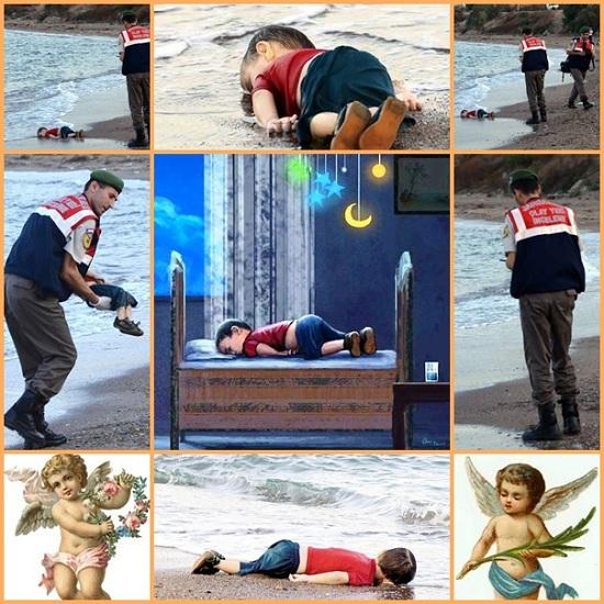 C'è voluta l'immagine del piccolo Aylan, bimbo siriano di soli tre anni che, ancora vestito e con le scarpe allacciate, giace morto a faccia in giù su una spiaggia, per aprire una breccia nel cuore di tanta gente.Il dipinto al centro, pubblicato su Facebook, fa sperare che Aylan sia cullato tra le braccia di Dio.