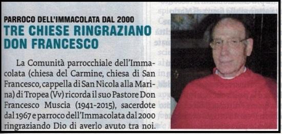 """Il ricordo di Don Francesco Muscia su """"Famiglia Cristiana""""."""