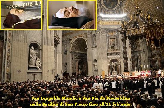 San Leopoldo Mandic e San Pio da Pietrelcina nella Basilica di San Pietro fino all'11 febbraio - Due umili frati, che hanno trascorso la vita a dispensare il perdono e la misericordia di Dio, sono additati come esempio nel Giubileo straordinario della misericordia. Il cardinale Comastri: questi due santi ci indicano la strada verso le Beatitudini.