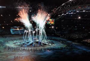 I fuochi d'artificio durante l'apertura dei giochi di Sydney 2000