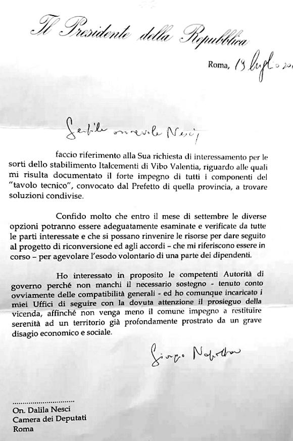 LetteraPresidenteNapolitano