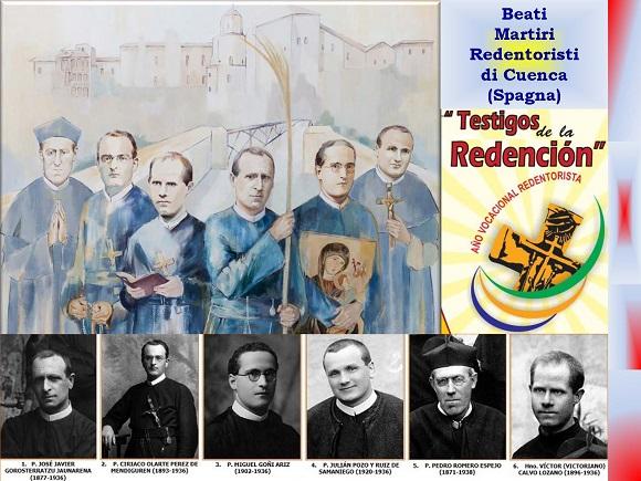 Domenica 13 ottobre a Tarragona (Spagna) vengono proclamati 522 Martiri di Spagna, vittime della persecuzione religiosa durante la Guerra Civile. Tra questi ci sono anche sei Redentoristi della Comunità di Cuenca.