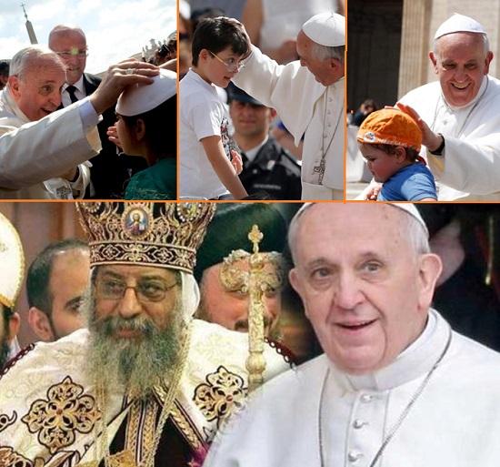 Papa Francesco, il Papa di tutti: ispira fiducia e amore; le carezze date ai bambini sono come date ai fedeli di tutto il mondo. – Tawadros II, papa di Alessandria, Patriarca della Sede di San Marco e Capo della Chiesa Ortodossa Copta d'Egitto,  lo ha invitato a compiere una visita pastorale in Egitto.