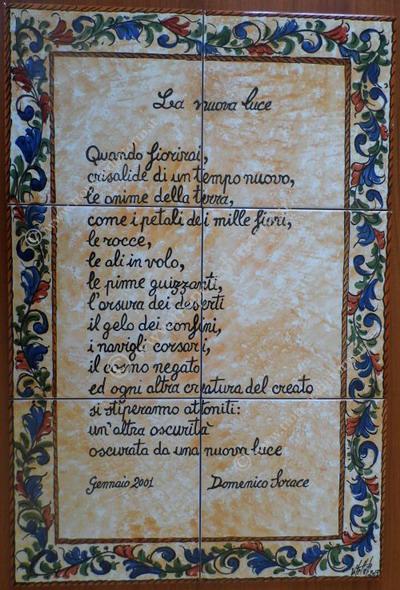 Poesia su ceramica per il concorso Zambrone terra della poesia