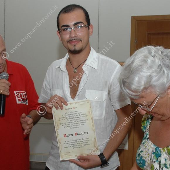 Lo studente premiato Francesco Barone - foto Libertino