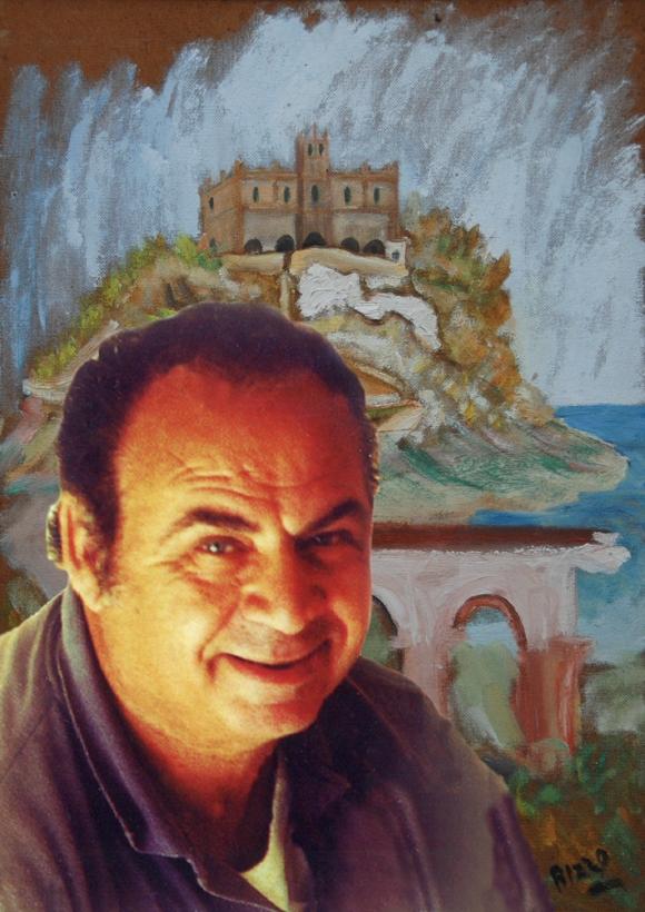 L'artista Antonio Rizzo con uno dei suoi quadri