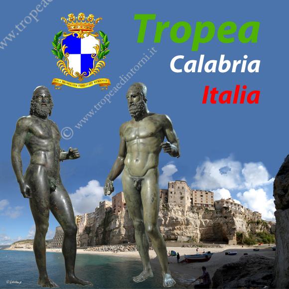 I Bronzi con lo sfondo di Tropea - fotomontaggio Libertino