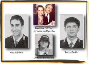 Vito Schifani, Giovanni falcone, Francesca Morvillo e Antonio Montinaro persero la vita nella strage di Capaci del 23 maggio 1992 - Foto internet.